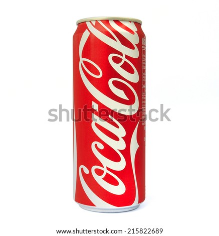 Thailand , Rayong - September 04, 2014: Photo of long can of Coca-Cola. Coca-Cola is the  most popular favorite carbonated beverages.  - stock photo