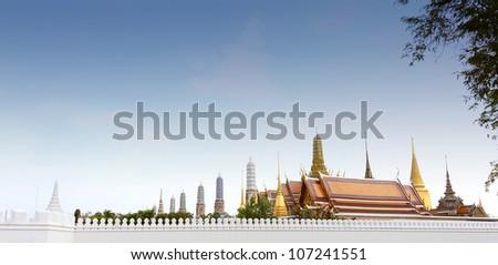 Thailand, Royal palace panorama - stock photo