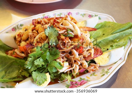 Thailand's spicy seafood salad. - stock photo