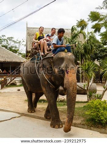 Thailand, Samui -  December 15, 2014: tourist excursion, show of elephants - stock photo