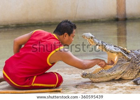 """THAILAND, SAMUT PRAKAN - December 27,2015: An unidentified zoo keeper puts a hand in a mouth of the crocodile as part of """"Show of crocodiles"""" at Samut Prakan Crocodile Farm and Zoo. - stock photo"""