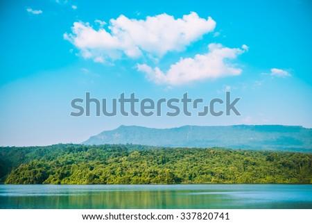 Thailand scenic mountain landscape shot at National Park. - stock photo