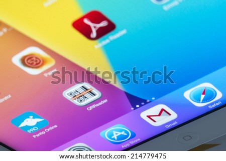THAILAND - SEPTEMBER 03, 2014: App store icons on tablet device screen