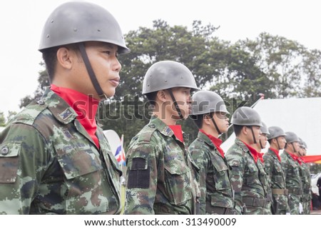 THAILAND-SEPTEMBER 5,Memorial selfless heroism Army parade, armed soldiers in camouflage military uniform on september 5,thailand