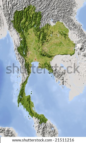 Thailand. Shaded relief map. Surrounding territory greyed out. Colored according to vegetation. Includes clip path for the state area. Data source: NASA