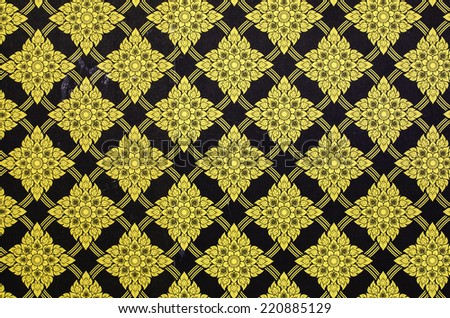 Thailand striped pattern on the wall in temple Thailand. - stock photo