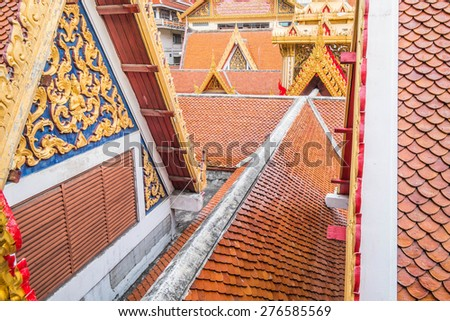 Thailand temple roof abstract pattern - stock photo