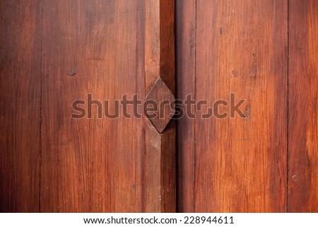 Thailand traditional wood door - stock photo