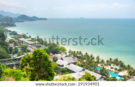 Thailand tropical island of Koh Chang. Viewpoint of White Sand Beach in Ko Chang, Thailand. - stock photo