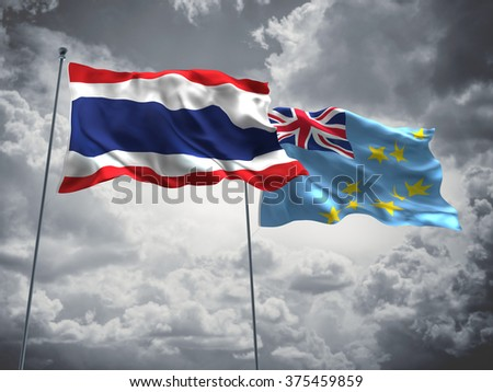 Thailand & Tuvalu Flags are waving in the sky with dark clouds