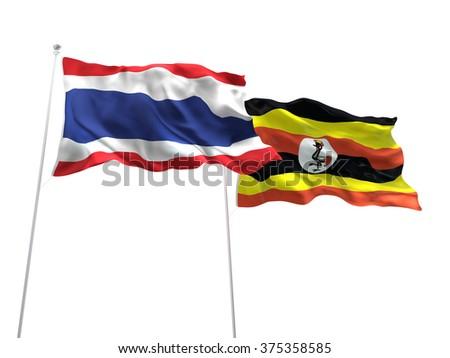 Thailand & Uganda Flags are waving on the isolated white background - stock photo