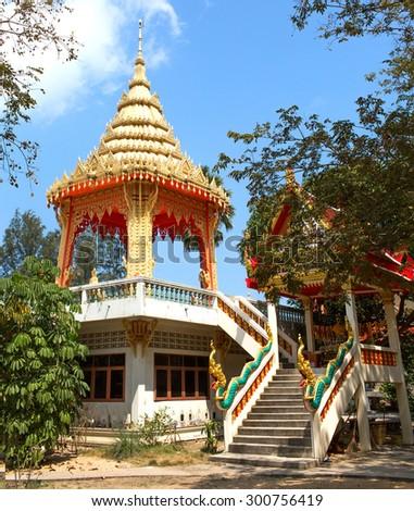 Thailand, unknown temple  on the island Samui - stock photo