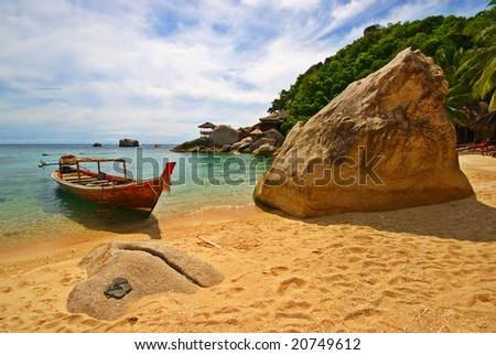 Thailand Vacations Scene with Long-tailed Boat - stock photo