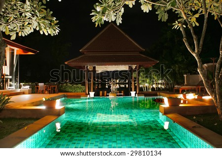 thailand villa pool - stock photo