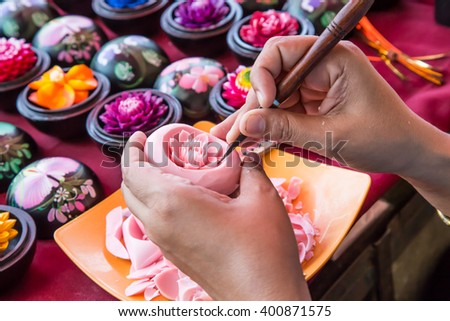 Thailander carving soap flower. - stock photo