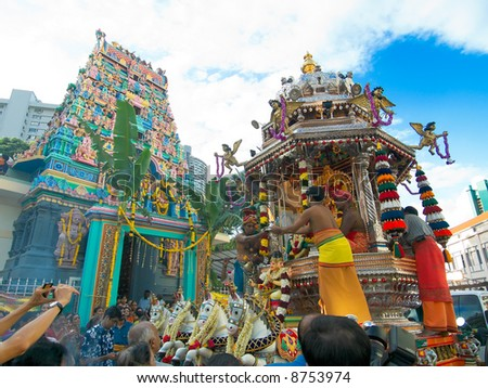Thaipusam: Preparing the Silver Chariot - stock photo