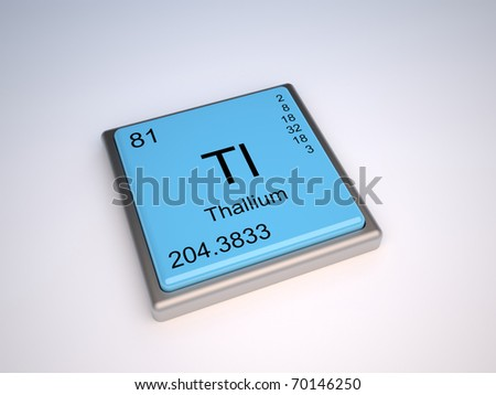 Thallium chemical element of the periodic table with symbol Tl - IUPAC - stock photo