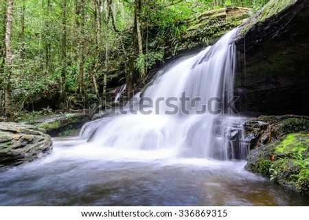 Tham Yai Waterfall at Phu Kradueng national park in Loei, Thailand.