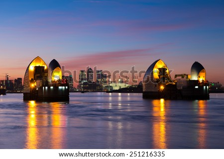 Thames barrier at dusk,London - stock photo