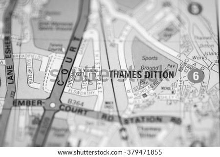 Thames Ditton. London, UK map.