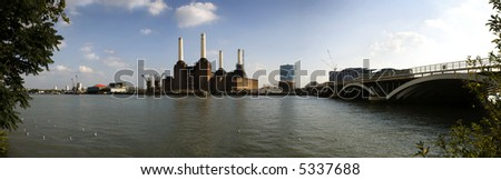 Thames River, London, panoramic shot taken in the soft evening light - stock photo