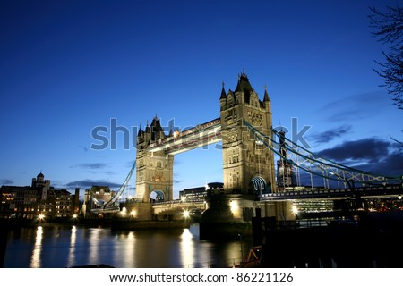 Thames River Night View with Tower Bridge