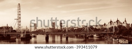 Thames River panorama with London Eye and Westminster Palace in black and white in London. - stock photo