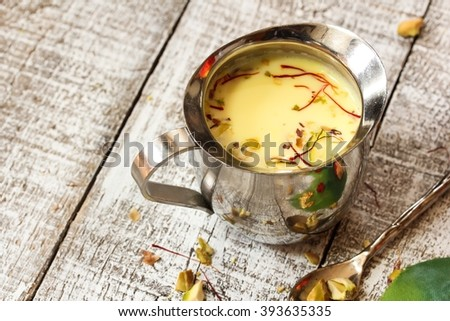 Thandai / Spiced almond milk, selective focus - stock photo