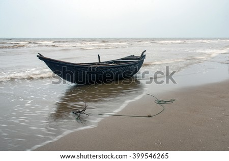 THANH HOA, Vietnam, August 21, 2015 the boat was moored, coast Sam Son, Thanh Hoa, Vietnam