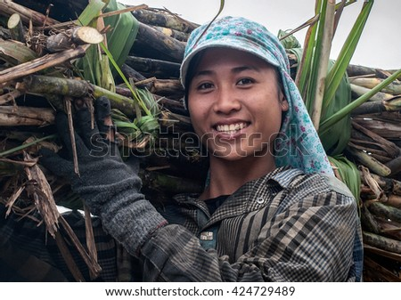 THANH HOA, Vietnam, September 13, 2015 rural women in Thanh Hoa, Vietnam, the harvest, the sugar