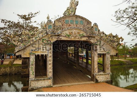 Thanh Toan Tile Roofed Bridge, Hue, Vietnam. The bridge was constructed in 1776 with wooden structure and tile roof. - stock photo