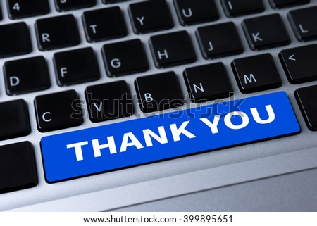 THANK YOU a message on keyboard