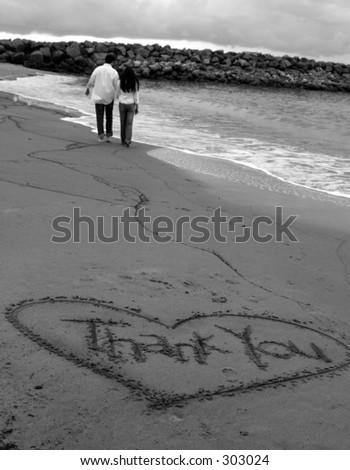 thank you bye bye black and white - stock photo