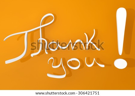 Thank You Calligraphy Hand Lettering sign on a orange background.  - stock photo