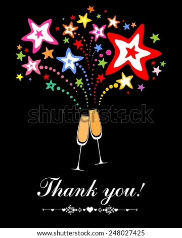 Thank you card. Glasses with champagne against fireworks. Celebration black background with Two Glasses of champagne, firework and place for your text. Illustration  - stock photo