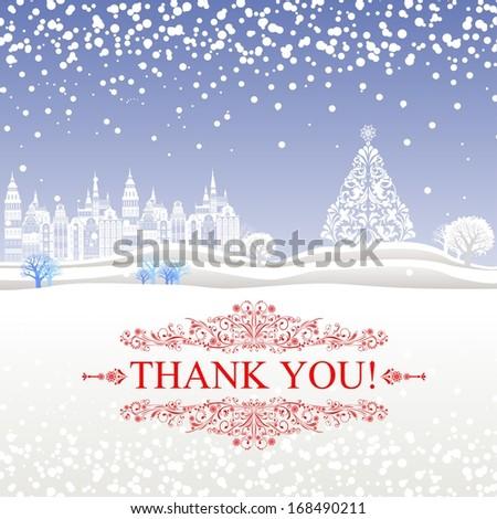Thank you card. illustration.  - stock photo