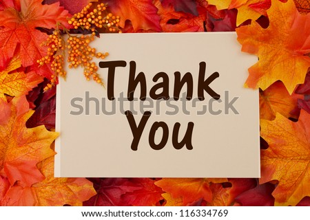 Thank You card with fall leaves, thankful at Thanksgiving