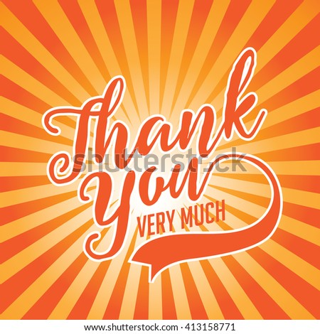 Thank You Card with orange burst.  - stock photo