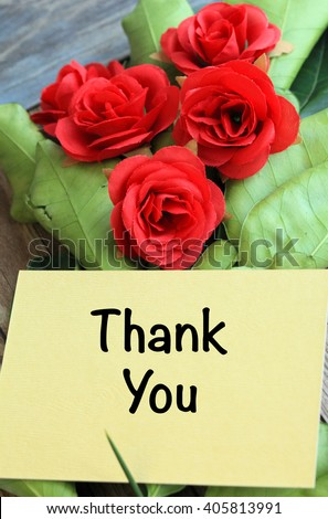 Thank you card with red flowers - stock photo