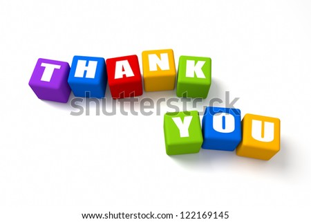 Thank You colored cubes. Part of a series. - stock photo