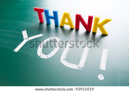 Thank you concept, message words on blackboard - stock photo