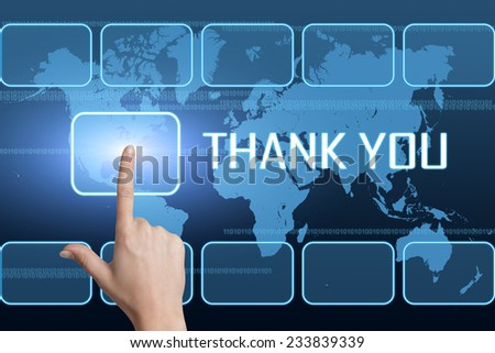 Thank you concept with interface and world map on blue background - stock photo
