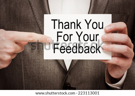 Thank you for your feedback  - stock photo