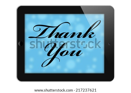Thank You for your Online Purchase, Tablet with text Thank You isolated on a white background - stock photo