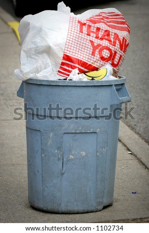 thank you  - garbage can trash - stock photo