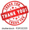 Thank you grunge stamp isolated on white - stock photo
