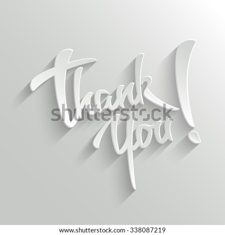 Thank You Hand lettering Greeting Card. Typographical Background. Handmade calligraphy - stock photo