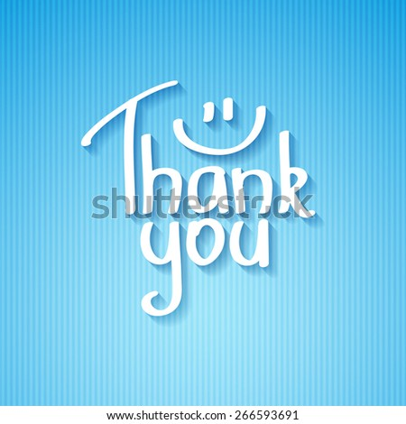 thank you, handwritten text with shadow on striped cardboard - stock photo