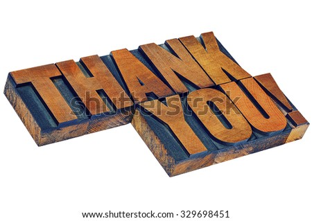 thank you - isolated word abstract in vintage letterpress wood type, diagonal layout - stock photo