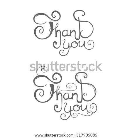 thank you, lettering - stock photo